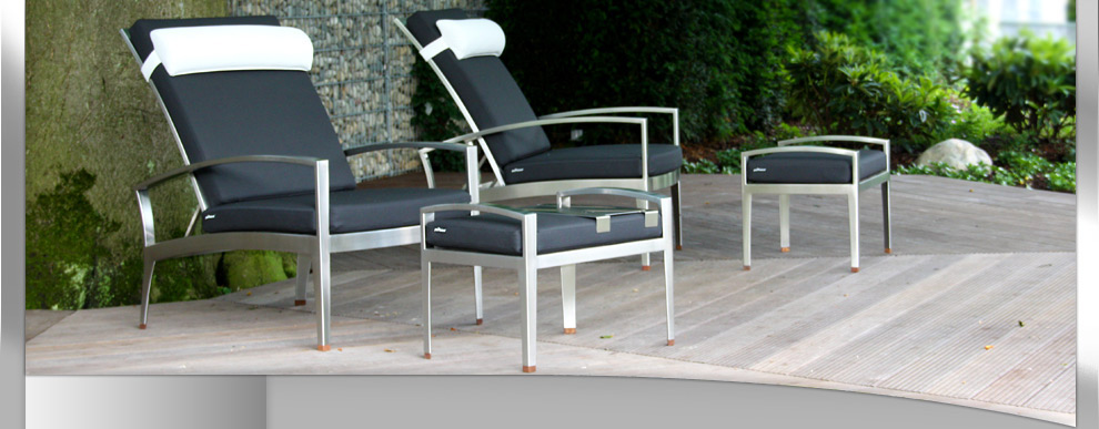 exklusive edelstahl m bel f r ihren garten park ihr boot. Black Bedroom Furniture Sets. Home Design Ideas